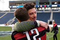 Chester, PA - Sunday December 10, 2017: Nico Corti, Drew Skundrich Stanford University defeated Indiana University 1-0 in double overtime during the NCAA 2017 Men's College Cup championship match at Talen Energy Stadium.