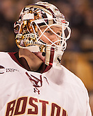 Thatcher Demko (BC - 30) - The Boston College Eagles defeated the Harvard University Crimson 3-2 in the opening round of the Beanpot on Monday, February 1, 2016, at TD Garden in Boston, Massachusetts.