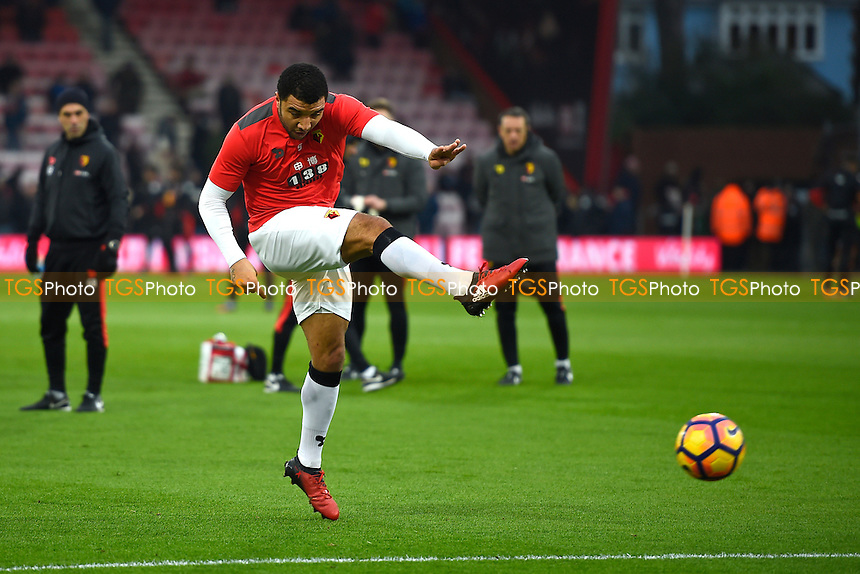 Troy Deeney of Watford warms up during AFC Bournemouth vs Watford, Premier League Football at the Vitality Stadium on 21st January 2017