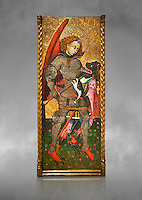 Gothic altarpiece of Archangel Michael ( Sant Miguel Arcangel) by Blasco de Branen of Saragossa, circa 1435-1445 , tempera and gold leaf on for wood.  National Museum of Catalan Art, Barcelona, Spain, inv no: MNAC   114741. Against a grey art background.