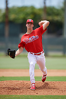 GCL Phillies East relief pitcher Taylor Lehman (56) delivers a pitch during a game against the GCL Blue Jays on August 10, 2018 at Carpenter Complex in Clearwater, Florida.  GCL Blue Jays defeated GCL Phillies East 8-3.  (Mike Janes/Four Seam Images)