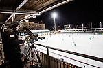 Stockholm 2013-11-26 Bandy Elitserien Hammarby IF - Edsbyns IF :  <br /> TV-kamera uppe p&aring; huvudl&auml;ktaren p&aring; Zinkensdamms IP innan matchen mellan Hammarby och Edsbyn<br /> (Foto: Kenta J&ouml;nsson) Nyckelord:  TV kamera