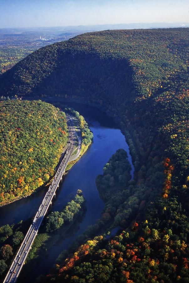 Aerial, Delaware Water Gap National Recreation area, Delaware River, I-80 Aerial Photograph Pennsylvania