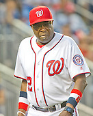 Washington Nationals manager Dusty Baker (12) returns to the dugout after expressing his displeasure with umpire Bob Davidson after Davidson ejected Anthony Rendon from the game for arguing strike calls in the twelfth inning against the Chicago Cubs at Nationals Park in Washington, D.C. on Wednesday, June 15, 2016.  The Nationals won the game 5 - 4 in 12 innings.<br /> Credit: Ron Sachs / CNP