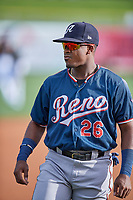 Domingo Leyba (26) of the Reno Aces before the game against the Salt Lake Bees at Smith's Ballpark on June 27, 2019 in Salt Lake City, Utah. The Aces defeated the Bees 10-6. (Stephen Smith/Four Seam Images)