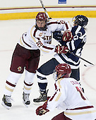 Scott Savage (BC - 28), Cory MacIntosh (StFX - 42) - The Boston College Eagles defeated the visiting St. Francis Xavier University X-Men 8-2 in an exhibition game on Sunday, October 6, 2013, at Kelley Rink in Conte Forum in Chestnut Hill, Massachusetts.