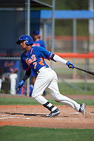 GCL Mets shortstop Milton Ramos (7) at bat during the first game of a doubleheader against the GCL Marlins on July 24, 2015 at the St. Lucie Sports Complex in St. Lucie, Florida.  GCL Marlins defeated the GCL Mets 5-4.  (Mike Janes/Four Seam Images)
