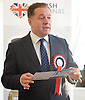 British National Party election manifesto launch for the May 3 London Assembly elections in East London, Great Britain <br /> 9th April 2012 <br /> <br /> <br /> Stephen Squire <br /> candidate and Regional Organiser for the whole of London<br /> <br /> <br /> Photograph by Elliott Franks
