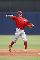 Clearwater Threshers second baseman Jose Gomez (3) throws to first base during a game against the Tampa Tarpons on April 22, 2018 at George M. Steinbrenner Field in Tampa, Florida.  Clearwater defeated Tampa 2-1 (Mike Janes/Four Seam Images)