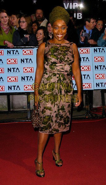 ANGELA WYNTER.The National Television Awards 2006 held at the Royal Albert Hall, London, UK. - Arrivals.October 31st, 2006.Ref: CAN.full length green pink floral print dress head scarf bag.www.capitalpictures.com.sales@capitalpictures.com.©Can Nguyen/Capital Pictures