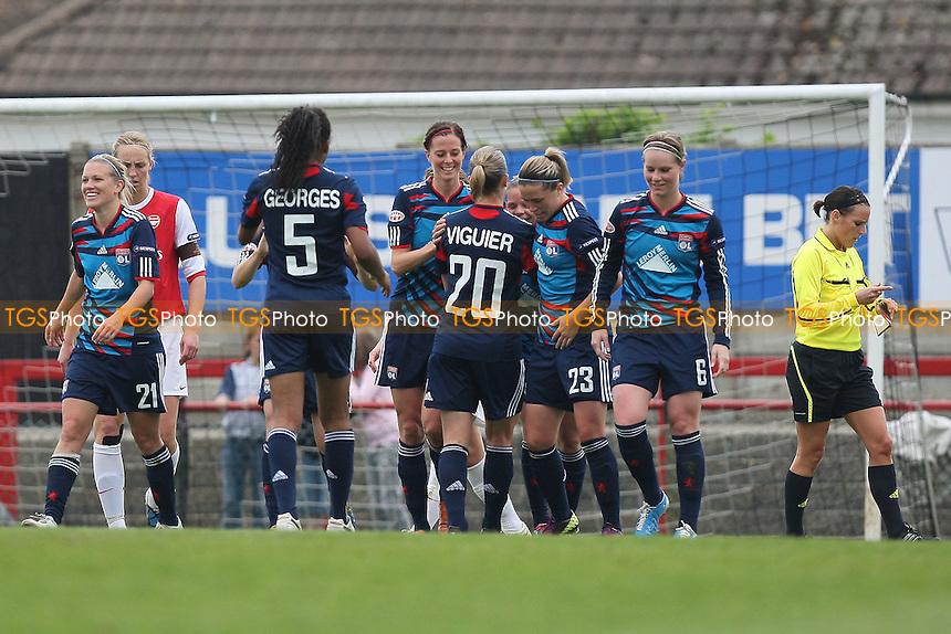 Lyon celebrate their second goal - Arsenal Ladies vs Olympique Lyonnais - UEFA Women's Champions League Semi-Final 2nd Leg at Boreham Wood FC - 16/04/11 - MANDATORY CREDIT: Gavin Ellis/TGSPHOTO - Self billing applies where appropriate - Tel: 0845 094 6026