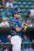 Ogden Raptors catcher Marco Hernandez (38) during a Pioneer League game against the Billings Mustangs at Lindquist Field on August 17, 2018 in Ogden, Utah. The Billings Mustangs defeated the Ogden Raptors by a score of 6-3. (Zachary Lucy/Four Seam Images)