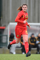 20190206 - TUBIZE , BELGIUM : Belgian Tine Lemmens pictured during the friendly female soccer match between Women under 17 teams of  Belgium and The Netherlands , in Tubize , Belgium . Wednesday 6th February 2019 . PHOTO SPORTPIX.BE DIRK VUYLSTEKE