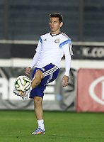 Lionel Messi of Argentina during training