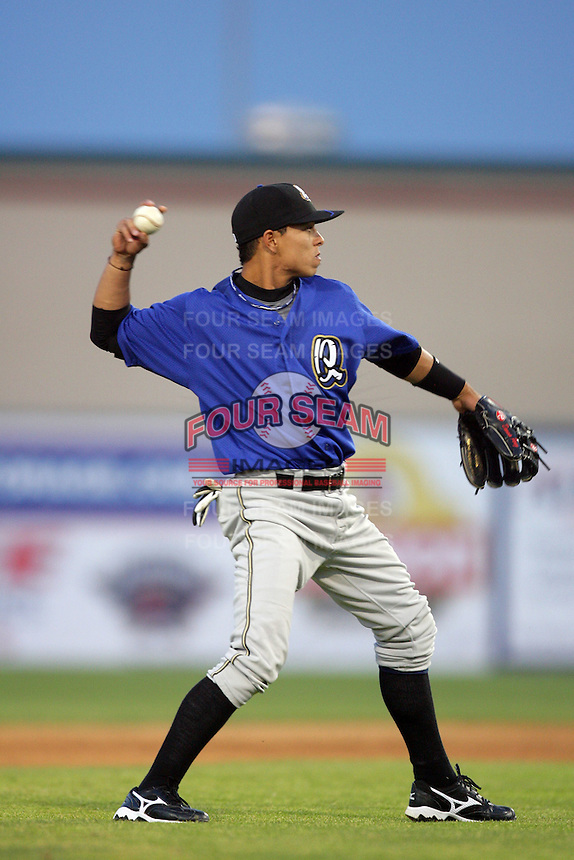 April 17, 2010: Darwin Perez of the Rancho Cucamonga Quakes during game against the Lancaster JetHawks at Clear Channel Stadium in Lancaster,CA.  Photo by Larry Goren/Four Seam Images