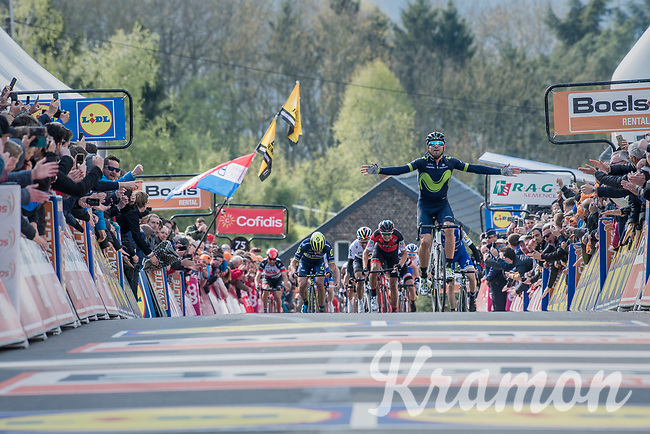 Alejandro Valverde (ESP/Movistar) wins his 5th Fl&eacute;che on top of the infamous Mur de Huy<br /> <br /> 81st La Fl&egrave;che Wallonne (1.UWT)<br /> One Day Race: Binche &rsaquo; Huy (200.5km)
