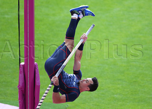 August 6th 2017, London Stadium, East London, England; IAAF World Championships, Day 3; Kevin Menaldo of France competing in the Men's Pole Vault Qualification