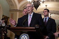 Senate Majority Leader, Mitch McConnell, Republican of Kentucky, speaks during a press conference following a Republican Caucus lunch on Capitol Hill in Washington, D.C. on March 12, 2019. <br /> CAP/MPI/RS<br /> &copy;RS/MPI/Capital Pictures
