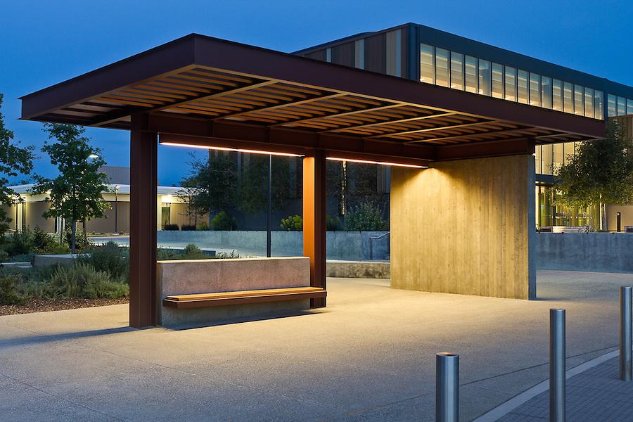 Bus Stop near the M.E. Fox Center at West Valley College, Saratoga, California.  Steinburg Architects, Photographer GP Martin