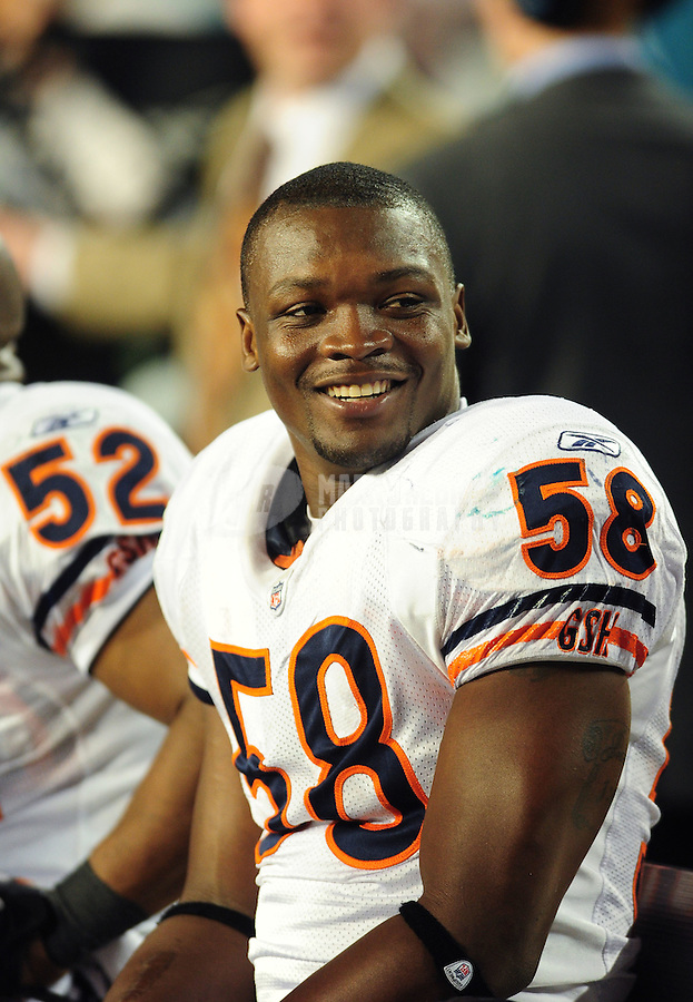 Nov. 18, 2010;  Miami, FL, USA; Chicago Bears linebacker Rod Wilson against the Miami Dolphins at Sun Life Stadium. The Bears defeated the Dolphins 16-0. Mandatory Credit: Mark J. Rebilas-
