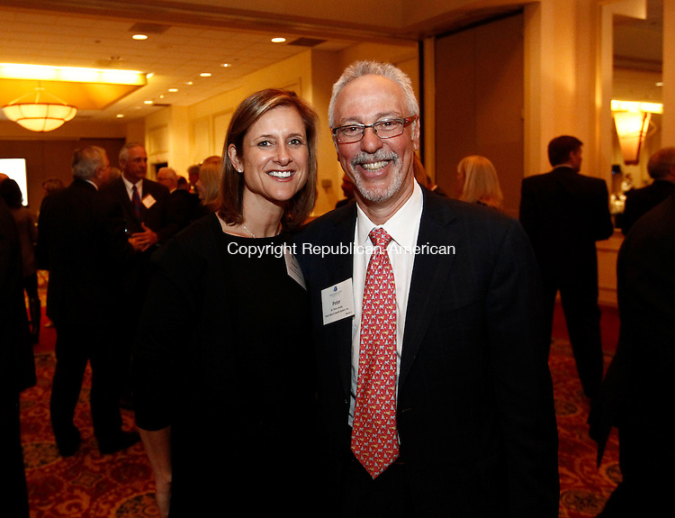 Waterbury, CT- 12 March 2014-031214CM10-  SOCIAL MOMENTS--- Left to right, Kristen Jacoby, President of United Way of Greater Waterbury Dr. Peter Jacoby of Saint Mary's Hospital photographed during the annual Waterbury Regional Chamber of Commerce legislative dinner at the CoCo Key Resort in Waterbury on Wednesday.   Christopher Massa Republican-American