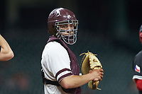 Mississippi State Bulldogs catcher Marshall Gilbert (34) during the game against the Houston Cougars in game six of the 2018 Shriners Hospitals for Children College Classic at Minute Maid Park on March 3, 2018 in Houston, Texas. The Bulldogs defeated the Cougars 3-2 in 12 innings. (Brian Westerholt/Four Seam Images)