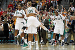 01 APRIL 2012:  Natalie Novosel (21) of the University of Notre Dame celebrates the Fighting Irish victory over the University of Connecticut during the Division I Women's Final Four Semifinals at the Pepsi Center in Denver, CO.  Notre Dame defeated UCONN 83-75 to advance to the national championship game.  Jamie Schwaberow/NCAA Photos