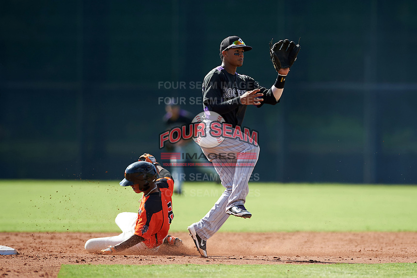 Colorado Rockies Jonathan Piron (3) waits for a throw as Ty Ross (8) slides in during an instructional league game against the San Francisco Giants on October 7, 2015 at the Giants Baseball Complex in Scottsdale, Arizona.  (Mike Janes/Four Seam Images)