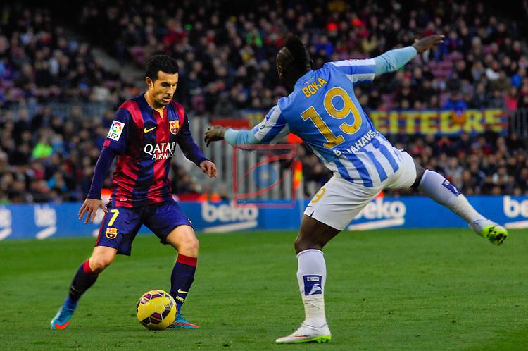 League BBVA 2014/2015 - Game: 24.<br /> FC Barcelona vs Malaga CF: 0-1.<br /> Pedro Rodriguez vs Boka.