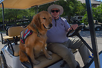 &quot;Thunder&quot; was busy all day riding shotgun on a player shuttle during Round 1 of the Valero Texas Open, AT&amp;T Oaks Course, TPC San Antonio, San Antonio, Texas, USA. 4/19/2018.<br /> Picture: Golffile | Ken Murray<br /> <br /> <br /> All photo usage must carry mandatory copyright credit (&copy; Golffile | Ken Murray)