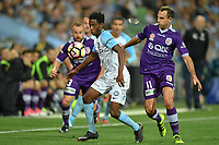 Melbourne, 23 April 2017 - BRUCE KAMAU (11) of Melbourne City protects the ball in the Elimination Final 2 of the A-League between Melbourne City and Perth Glory at AAMI Park, Melbourne, Australia. Perth won 2-0. Photo Sydney Low/sydlow.com
