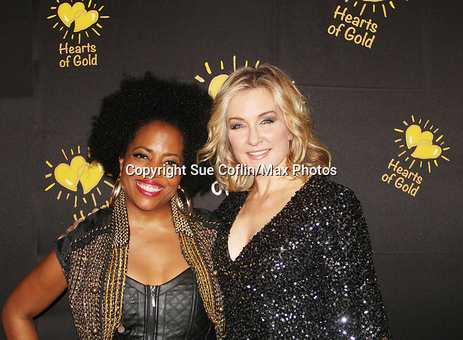 Another World's Rhonda Ross and Amy Carlson- Hearts of Gold annual All That Glitters Gala - 24 years of support to New York City's homeless mothers and their cildren - (VIP Reception - Silent Auction) was held on November 7, 2018 at Noir et Blanc and the 40/40 Club in New York City, New York.  (Photo by Sue Coflin/Max Photo)