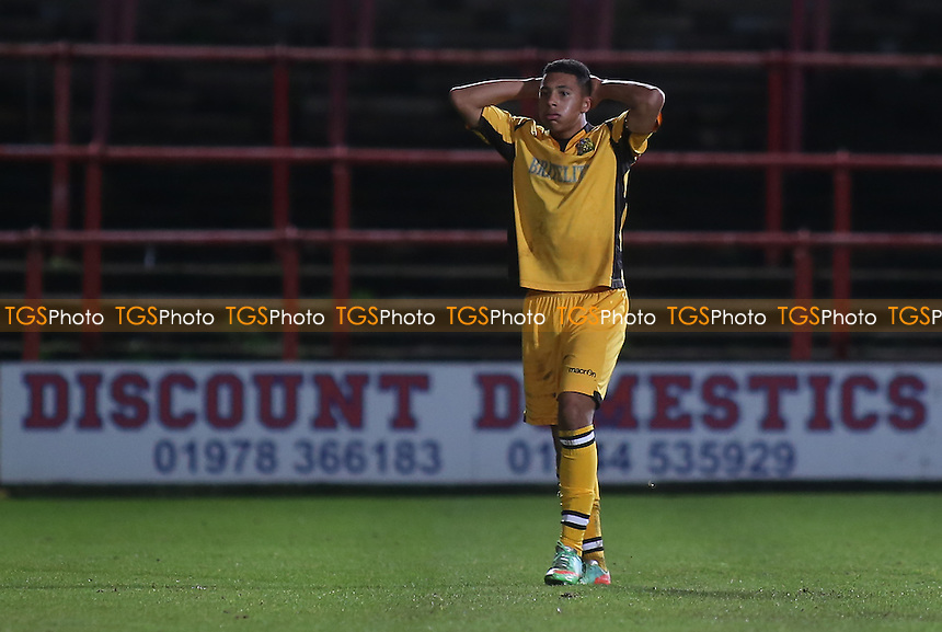 Aaron Simpson of Maidstone was sent off during the second half - Wrexham vs Maidstone United - FA Challenge Cup 2nd Round Football at the Racecourse Ground, Wrexham, Wales - 06/12/14 - MANDATORY CREDIT: Paul Dennis/TGSPHOTO - Self billing applies where appropriate - contact@tgsphoto.co.uk - NO UNPAID USE