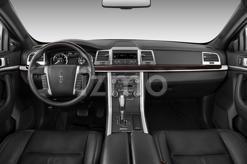Straight dashboard view of a 2010 Lincoln MKS FWD.