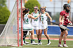 RICHMOND, VA - APRIL 27: Notre Dame's Samantha Lynch (33) celebrates her goal with Molly Cobb (22) and Heidi Annaheim (14). The Notre Dame Fighting Irish played the Boston College Eagles on April 27, 2017, at Sports Backers Stadium in Richmond, VA in an ACC Women's Lacrosse Tournament quarterfinal match. Boston College won the game 17-14.