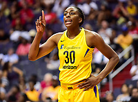 Washington, DC - June 15, 2018: Los Angeles Sparks forward Nneka Ogwumike (30) yells out a play call during game between the Washington Mystics and Los Angeles Sparks at the Capital One Arena in Washington, DC. (Photo by Phil Peters/Media Images International)