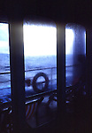 Looking onto ships deck during rainstorm in the Atlantic.
