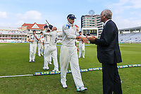 Picture by Alex Whitehead/SWpix.com - 12/09/2014 - Cricket - LV County Championship Div One - Nottinghamshire CCC v Yorkshire CCC, Day 4 - Trent Bridge, Nottingham, England - Yorkshire's stand-in captain Joe Root is congratulated by Executive Chairman Colin Graves.