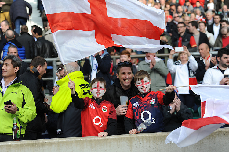 England fans enjoying the atmosphere during the RBS 6 Nations match between England and Wales at Twickenham Stadium on Saturday 12th March 2016 (Photo: Rob Munro/Stewart Communications)