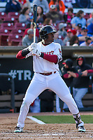 Wisconsin Timber Rattlers outfielder Demi Orimoloye (6) at bat during a Midwest League game against the Quad Cities River Bandits on April 8, 2017 at Fox Cities Stadium in Appleton, Wisconsin.  Wisconsin defeated Quad Cities 3-2. (Brad Krause/Four Seam Images)