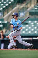 Tampa Bay Rays catcher Roberto Alvarez (91) at bat during an Instructional League game against the Baltimore Orioles on October 2, 2017 at Ed Smith Stadium in Sarasota, Florida.  (Mike Janes/Four Seam Images)