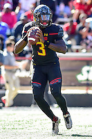 College Park, MD - OCT 15, 2016: Maryland Terrapins quarterback Tyrrell Pigrome (3) looks down field from the pocket during game between Maryland and Minnesota at Capital One Field at Maryland Stadium in College Park, MD. (Photo by Phil Peters/Media Images International)