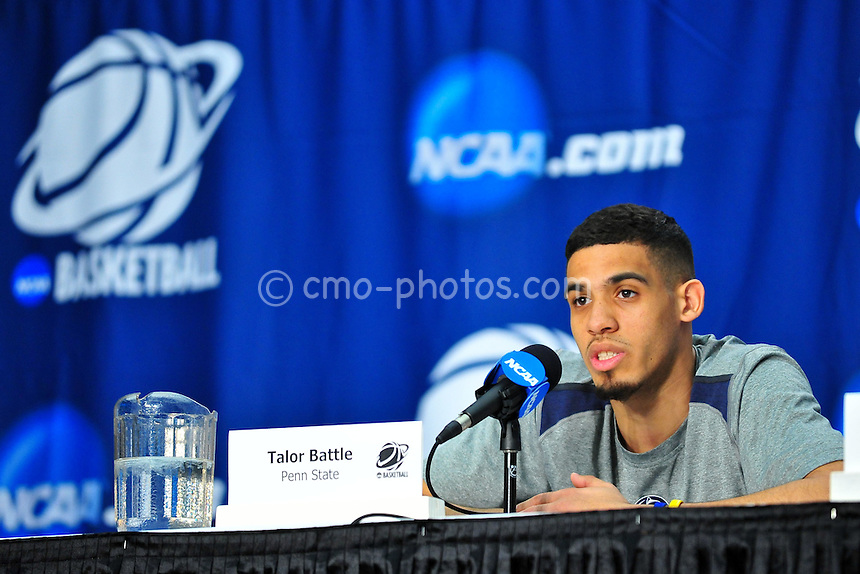 Mar 16, 2011; Tucson, AZ, USA; Penn State Nittany Lions guard Talor Battle (12) during a press conference at a practice day before the second round of the 2011 NCAA men's basketball tournament at the McKale Center.