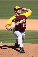 March 7, 2010:  Pitcher Mike Nixon (28) of the Central Michigan Chippewas during game at Jay Bergman Field in Orlando, FL.  Central Michigan defeated Central Florida by the score of 7-4.  Photo By Mike Janes/Four Seam Images
