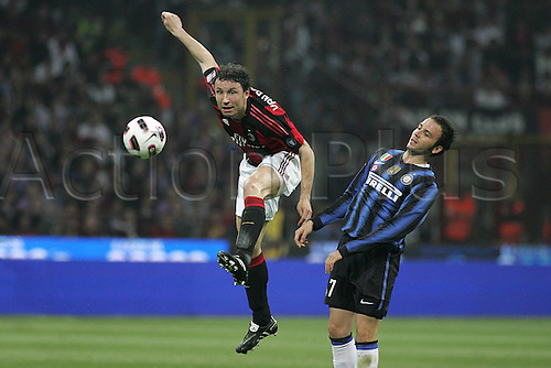 02 04 2011  Series A. AC  Milan versus Inter Milan.  Mark van Bommel Giampaolo Pazzini