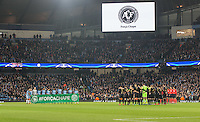 The teams stand for a minutes silence in memory of the plane crash in Columbia carrying some of Brazil's Chapecoense football team ahead of the UEFA Champions League GROUP match between Manchester City and Celtic at the Etihad Stadium, Manchester, England on 6 December 2016. Photo by Andy Rowland.
