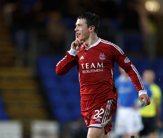Ryan Jack celebrates his long range goal for Aberdeen