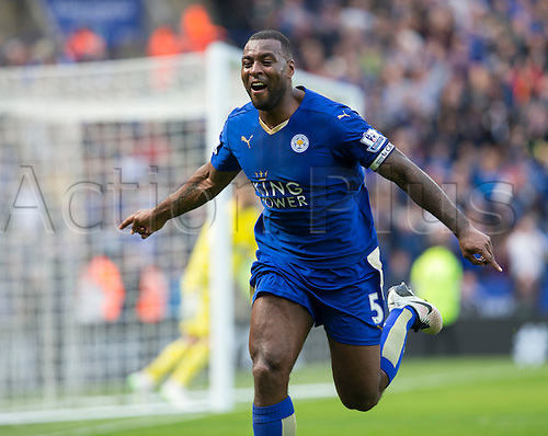 03.04.2016. King Power Stadium, Leicester, England. Barclays Premier League. Leicester versus Southampton.  Leicester City defender Wes Morgan celebrates after scoring the first goal of the match in the 38th minute.
