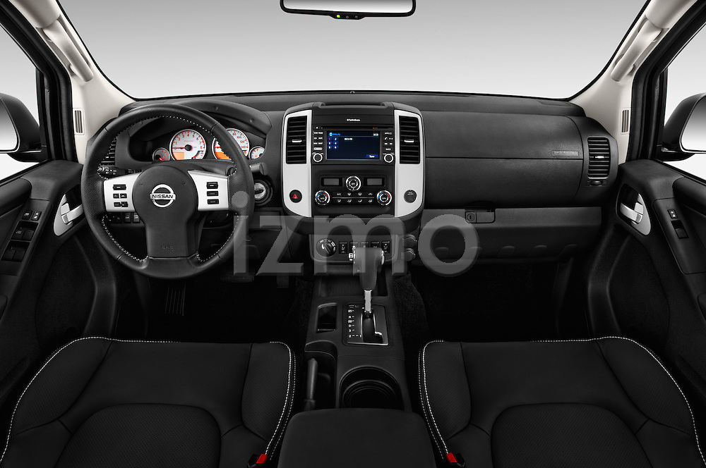 Stock photo of straight dashboard view of 2016 Nissan Frontier PRO-4X-Crew-Cab 4 Door Pickup Dashboard
