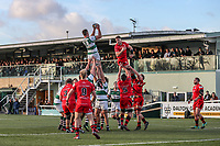 Rayn SMID of Ealing Trailfinders collects the ball during the Greene King IPA Championship match between Ealing Trailfinders and Jersey Reds at Castle Bar , West Ealing , England  on 22 December 2018. Photo by David Horn.